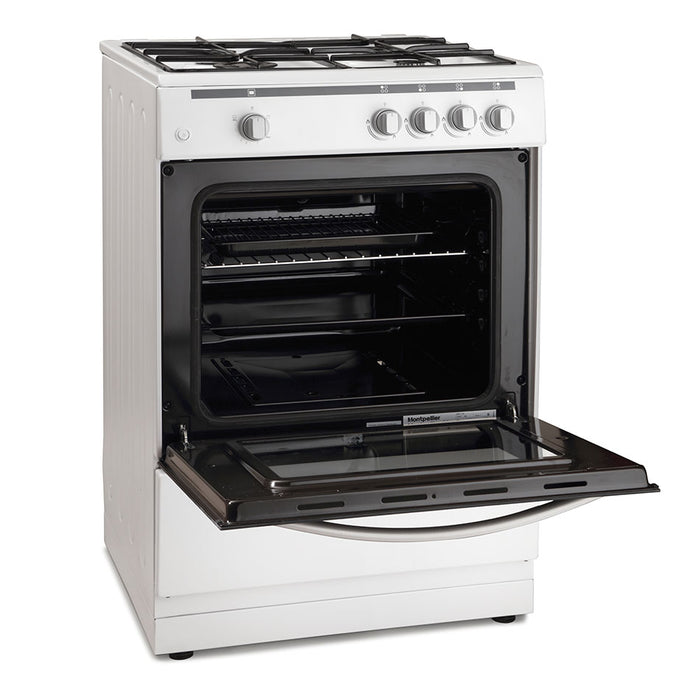 Montpellier MSG60W 60cm Single Cavity Gas Cooker in White