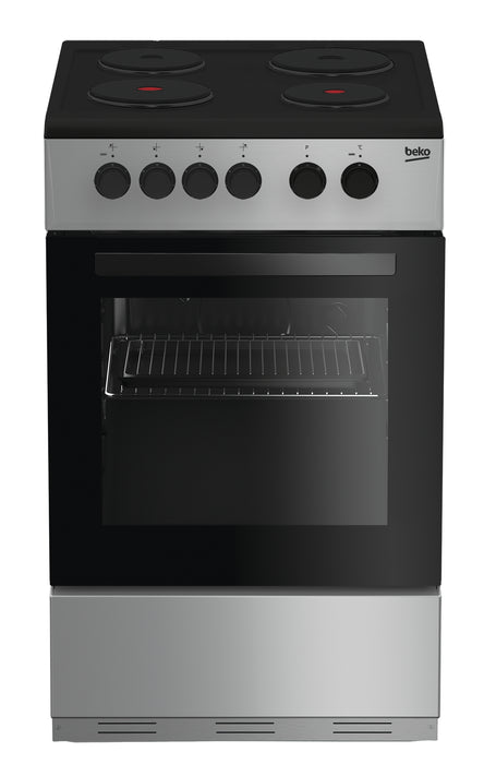 Beko KS530S 50cm Single Cavity Solid Plate Electric Cooker in Silver