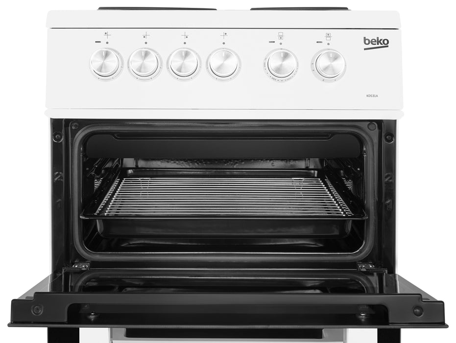 Beko KD531AW 50cm Twin Cavity Solid Plate Electric Cooker in White
