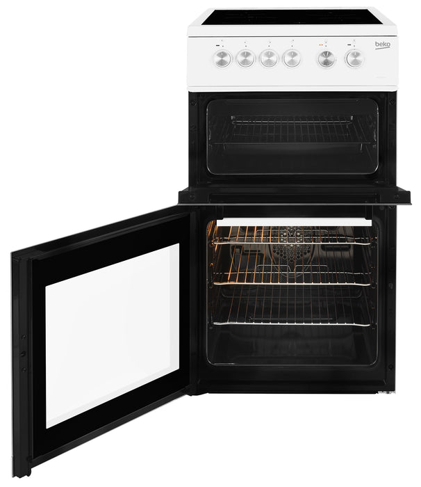 Beko KDVC563AW 50cm Double Oven Ceramic Electric Cooker in White