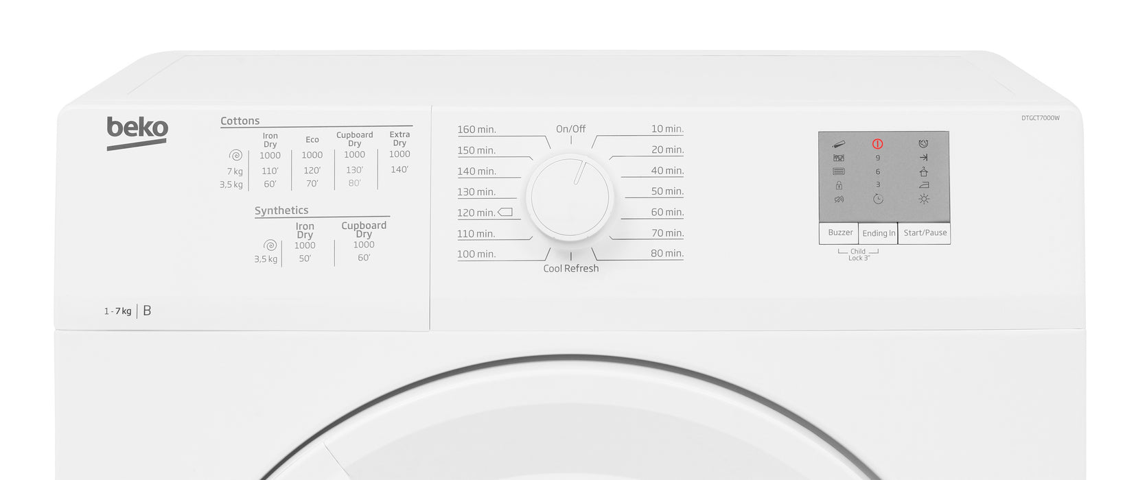 Beko DTGCT7000W 7kg Condenser Tumble Dryer in White