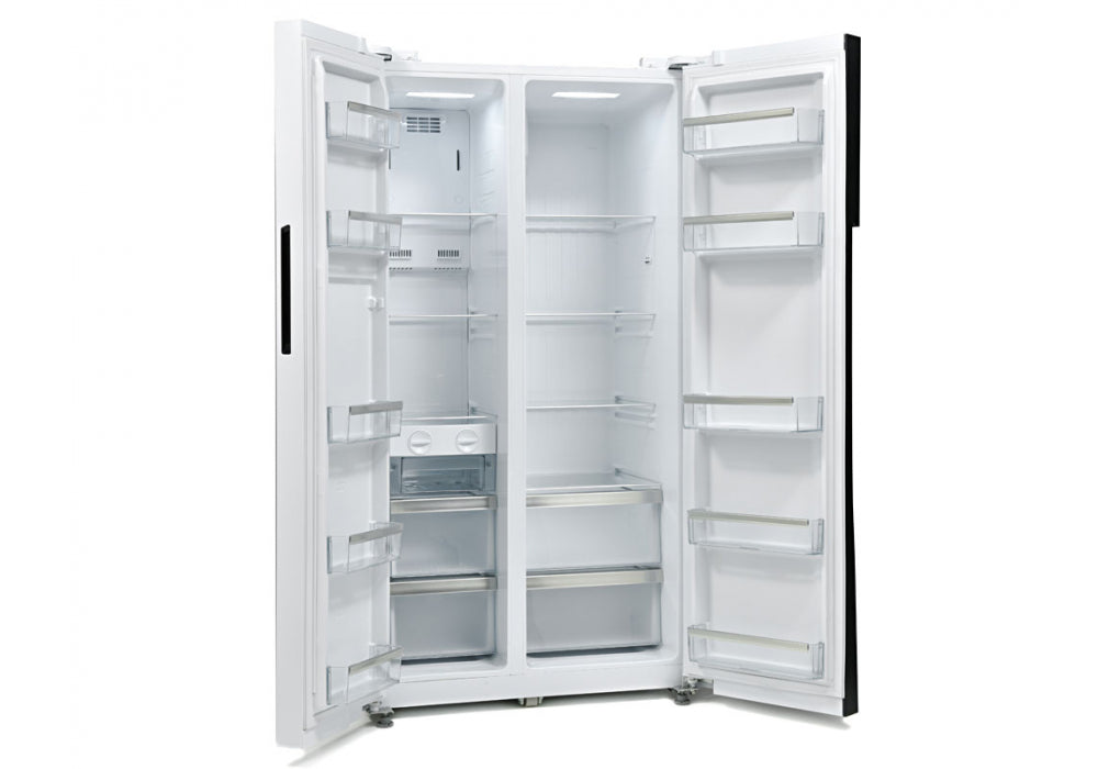 Montpellier M510BW Frost Free American-Style Fridge Freezer with Recessed Handle in White