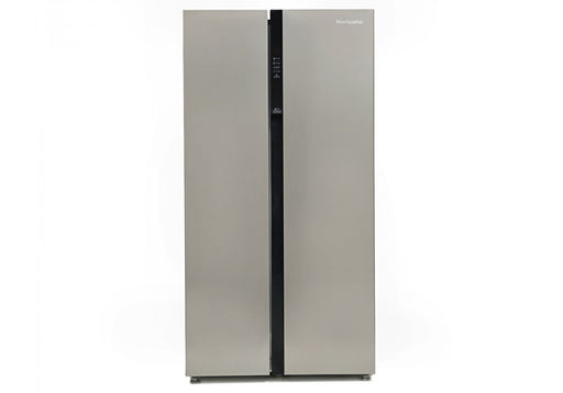 Montpellier M510BX Frost Free American-Style Fridge Freezer with Recessed Handle in Silver