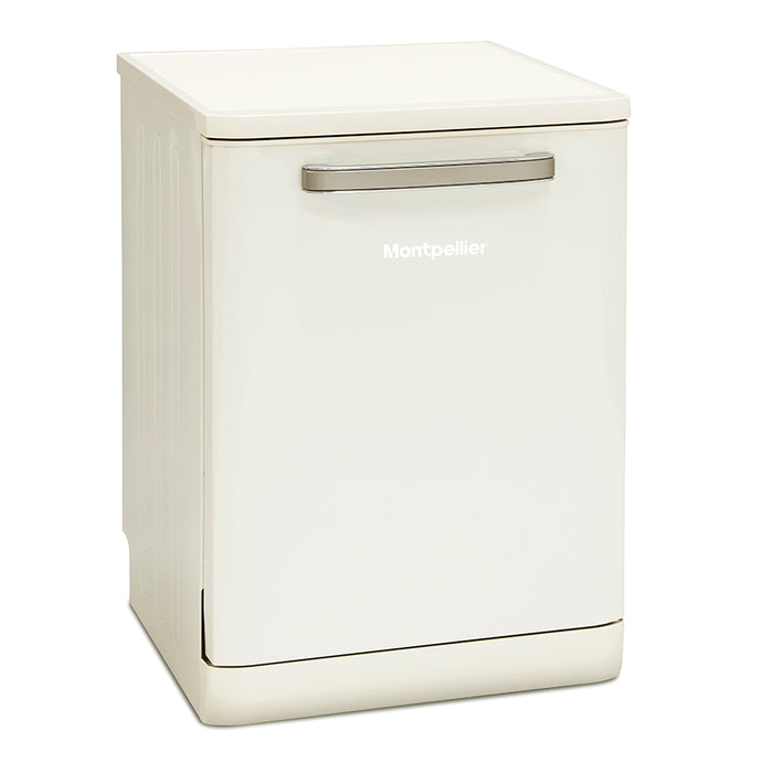 Montpellier MAB6015C 60cm Freestanding Retro Dishwasher in Cream
