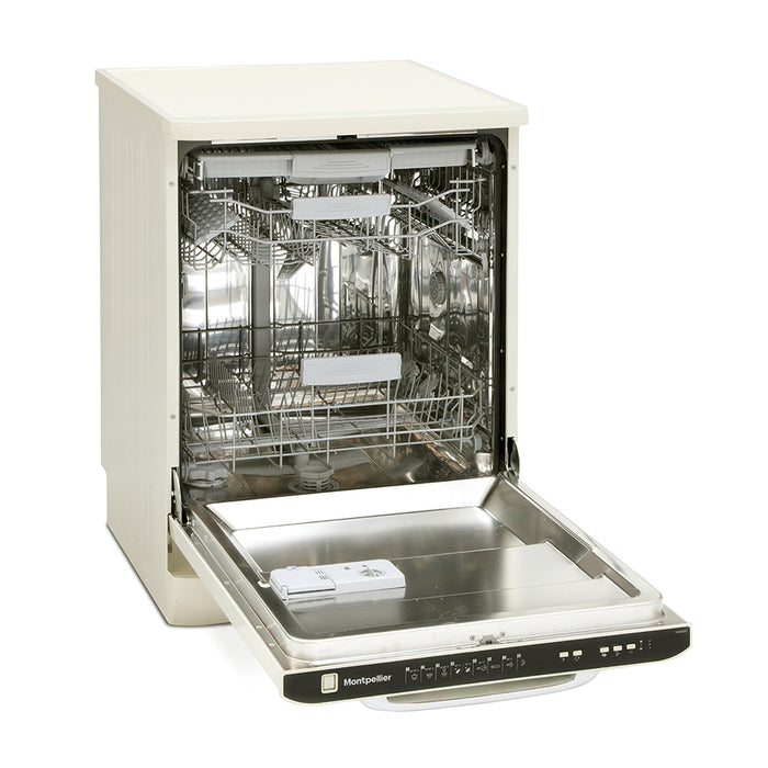 Montpellier MAB600C Retro Fullsize 15 Place Settings Dishwasher in Cream
