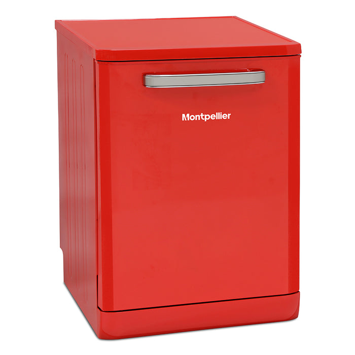 Montpellier MAB6015R 60cm Freestanding Retro Dishwasher in Red
