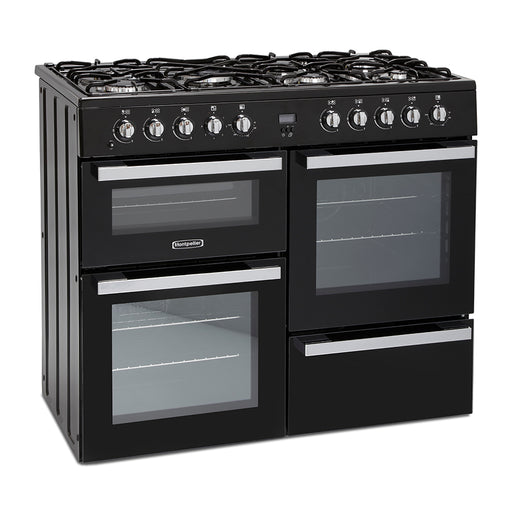Montpellier MDF100K 100cm Dual Fuel Range Cooker in Black
