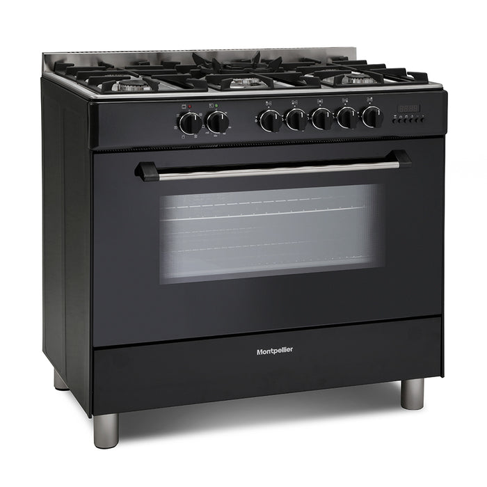 Montpellier MR91DFMK 90cm Dual Fuel Range Cooker in Black