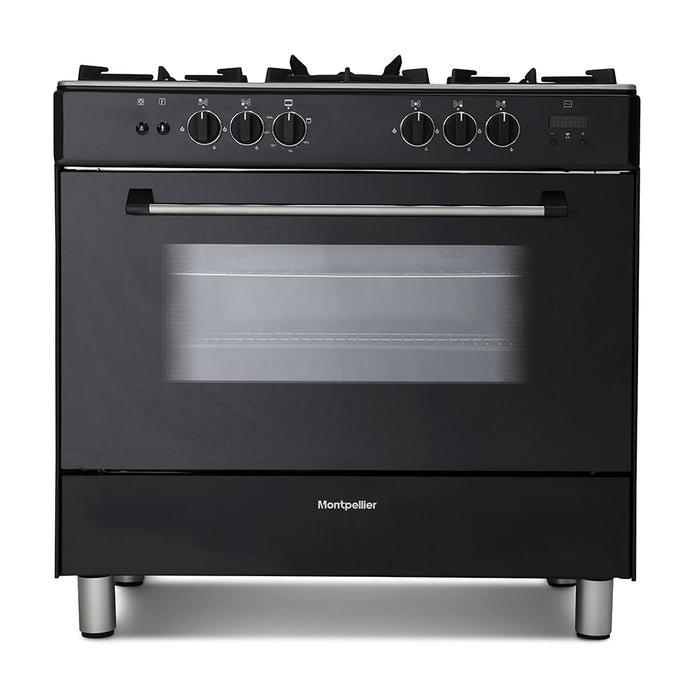 Montpellier MR91GOK 90cm Gas Range Cooker in Black