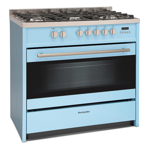 Montpellier MR95DFPB 90cm Dual Fuel Range Cooker in Pastel Blue