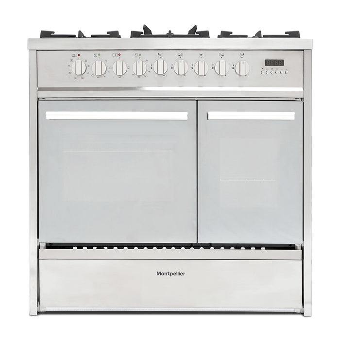 Montpellier MRT91DFMX 90cm Dual Fuel Range Cooker in Stainless Steel