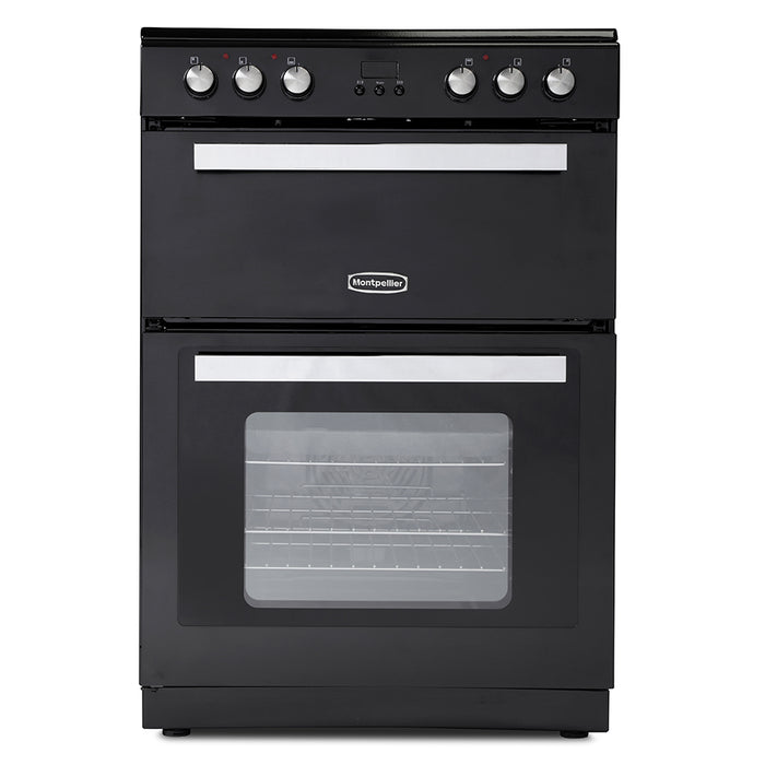 Montpellier RMC61CK 60cm Double Oven Mini Range Cooker in Black