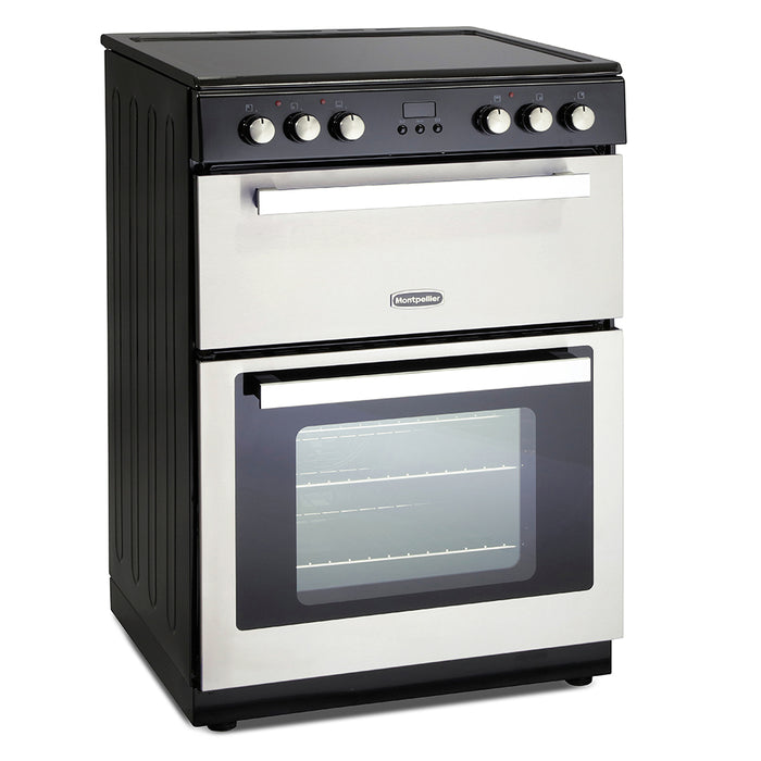 Montpellier RMC61CX 60cm Double Oven Electric Mini Range Cooker in Silver