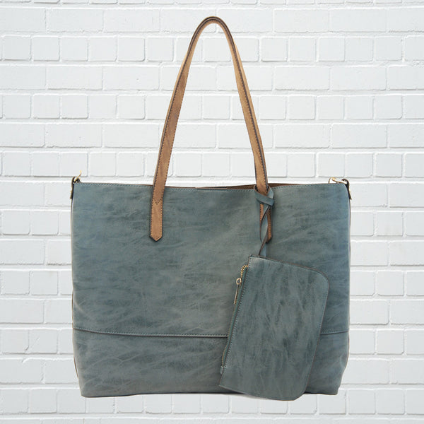 Brushed 2 in 1 Tote in Teal