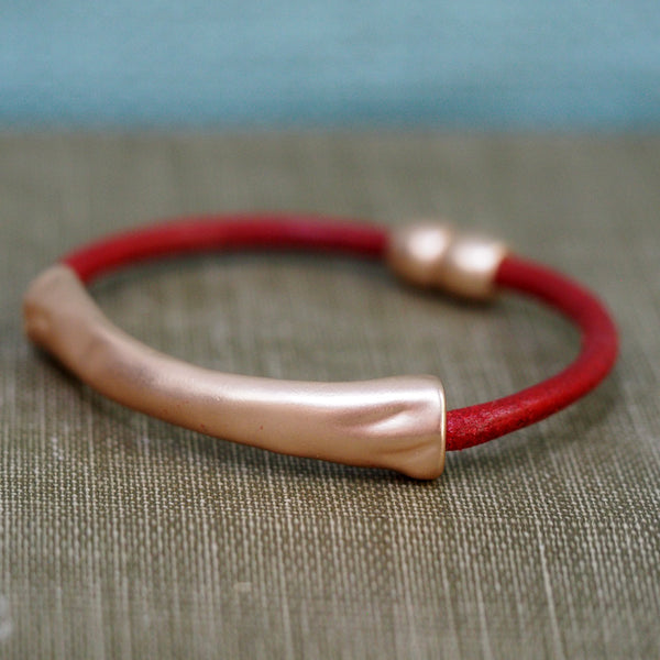 Leather Stacker Bracelet - Red with Brushed Gold