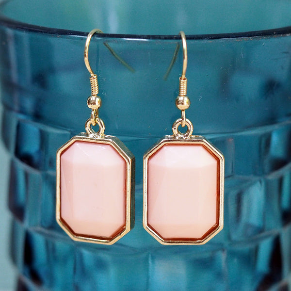 Pink & Gold Drop Earrings