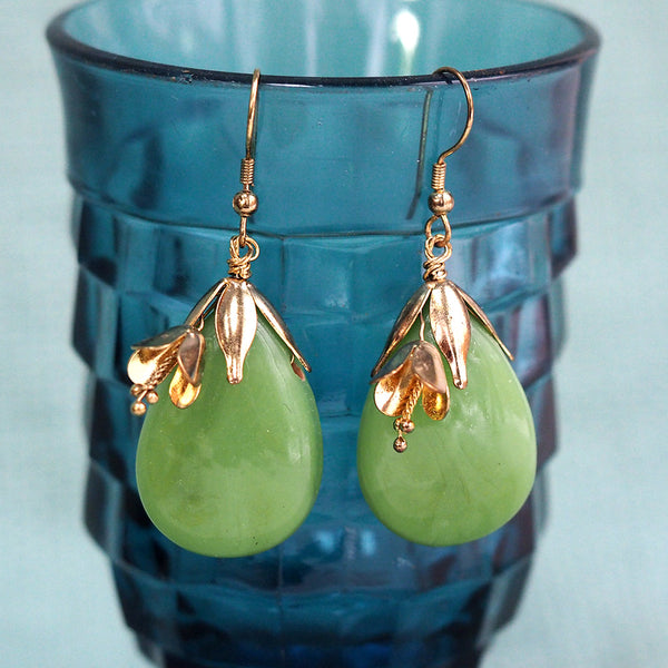 Sage Green & Gold Drop Earrings