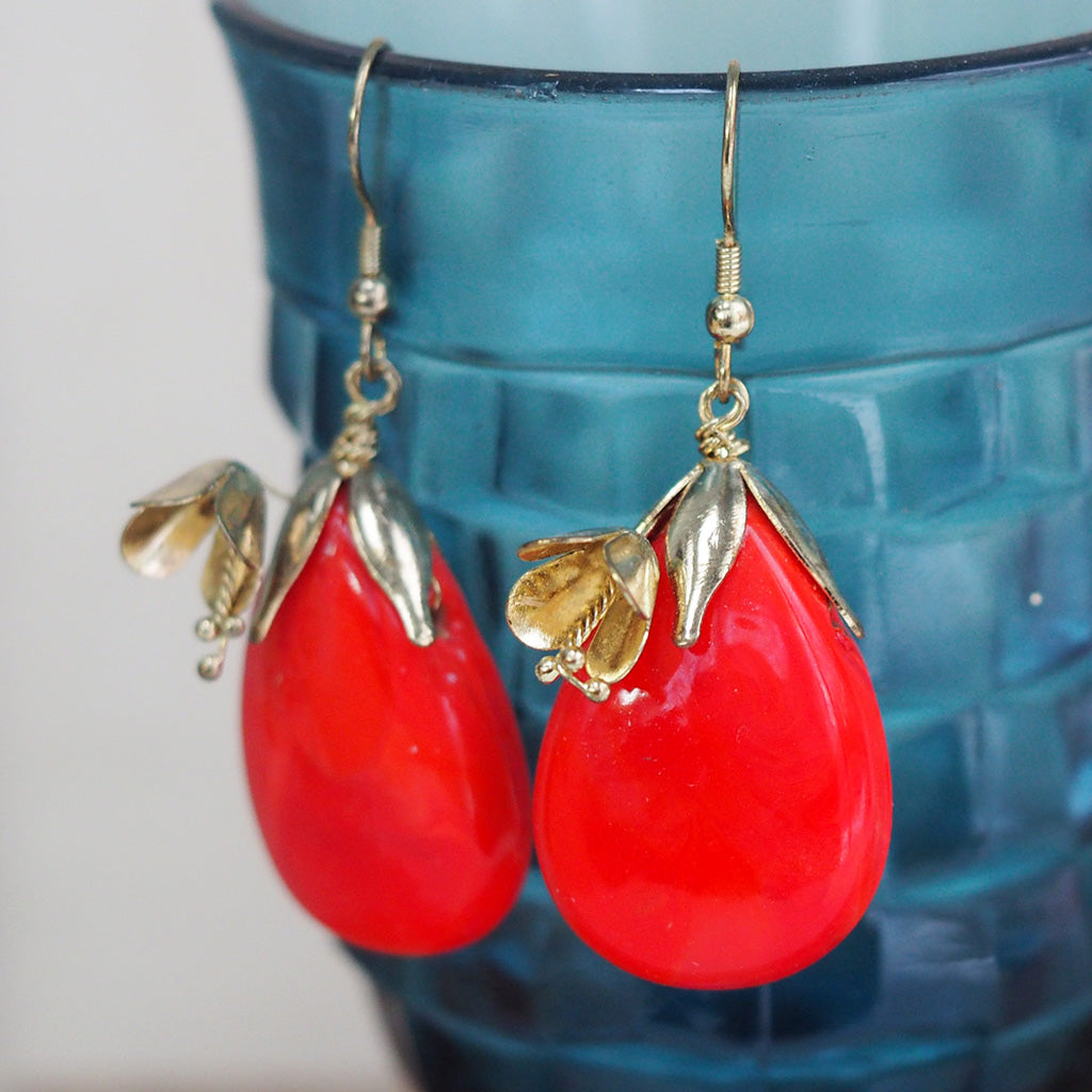 Red & Gold Flower Drop Earrings