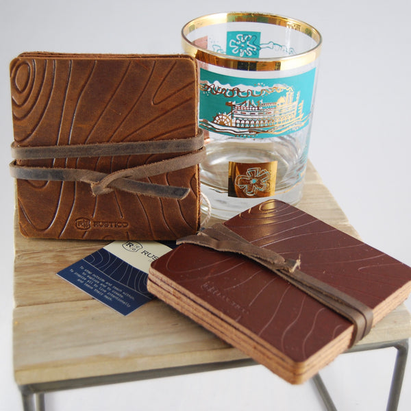Rustico Contour Leather Coaster Set
