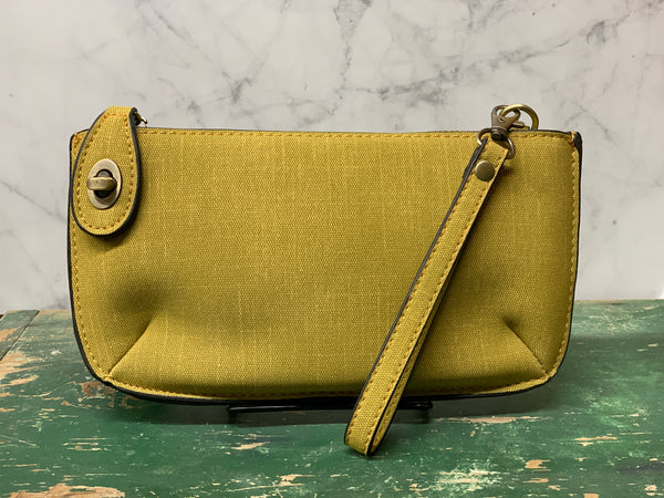 Faux Linen Cross Body Wristlet Clutch - Chartreuse