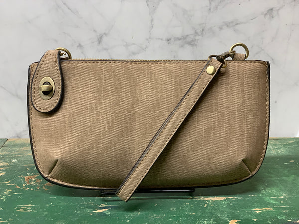 Faux Linen Cross Body Wristlet Clutch - Taupe