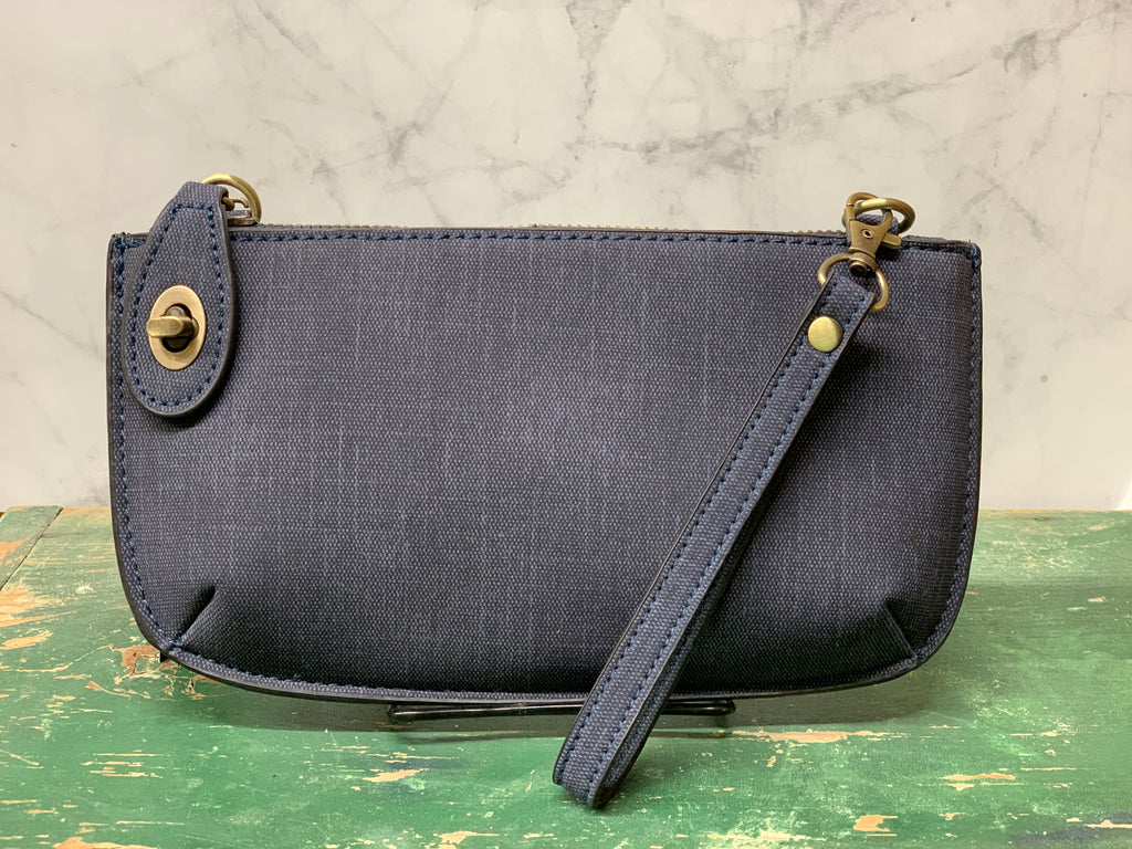 Faux Linen Cross Body Wristlet Clutch - Navy