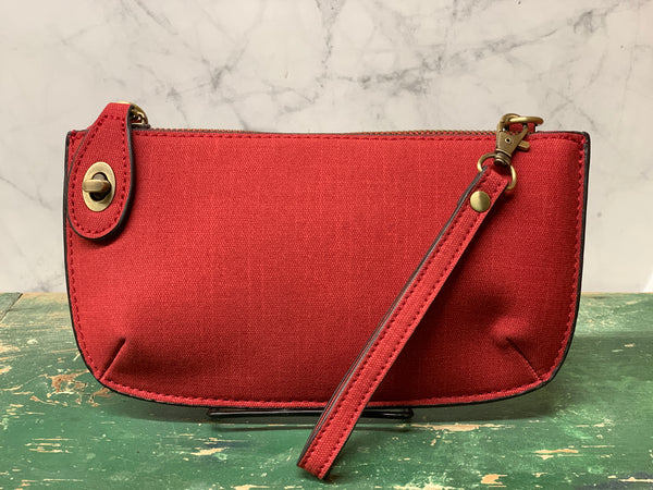Faux Linen Cross Body Wristlet Clutch - Red