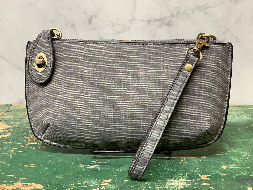 Faux Linen Cross Body Wristlet Clutch - Grey