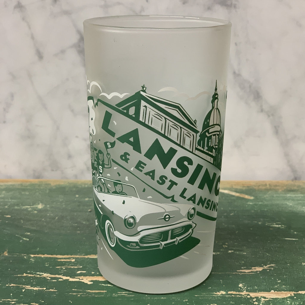 Retro Lansing / East Lansing Frosted Glass