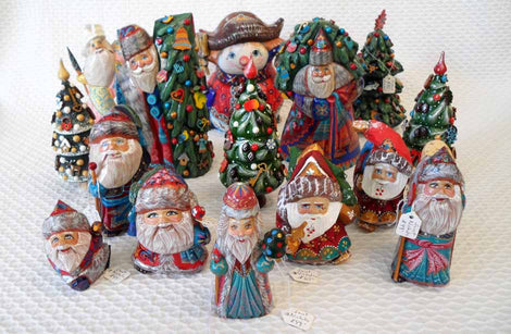 Carved Wood Santas and more