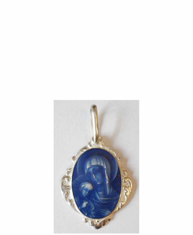 B002 Theotokos Pendant with Blue Enamel
