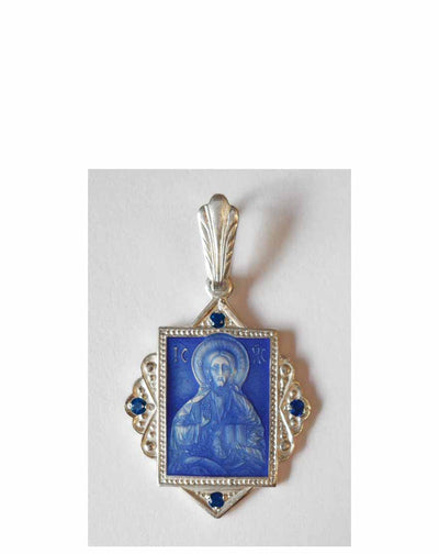 B007 Christ Pendant with Blue Enamel