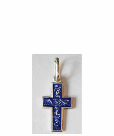 B011 Cross with Blue Enamel