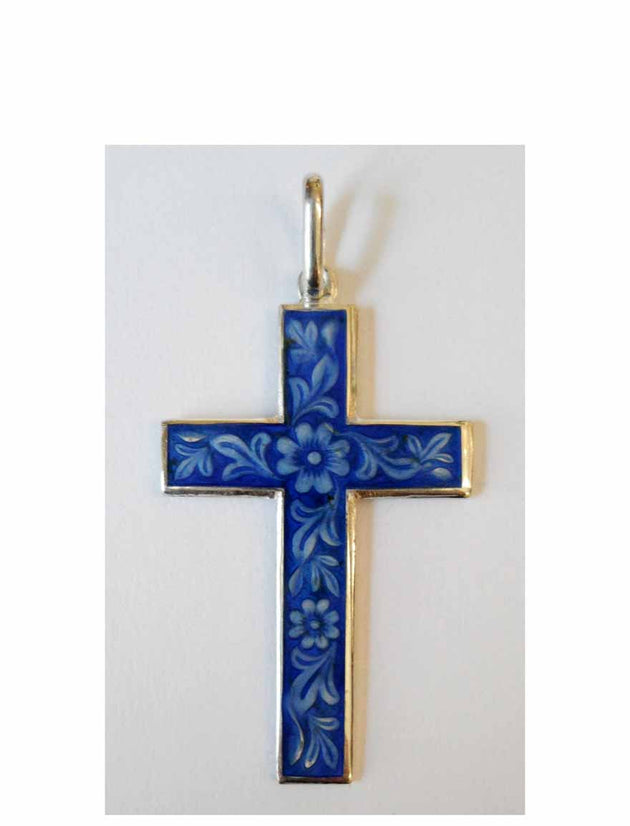B013 Cross with Blue Enamel