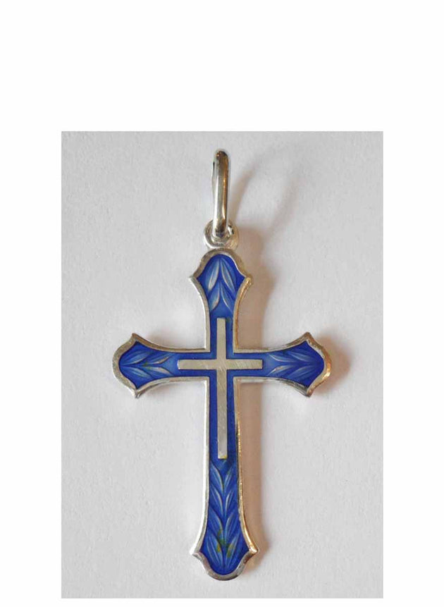 B014 Cross with Blue Enamel
