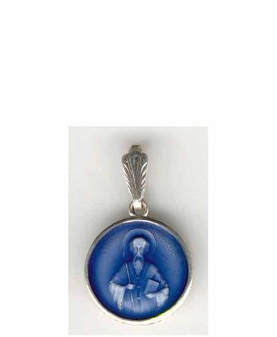 B025 St John of Rila Pendant with Blue Enamel
