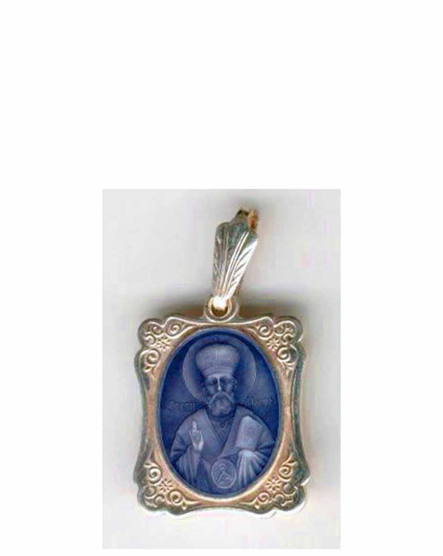 B026 St. Nicholas Icon Pendant with Blue Enamel