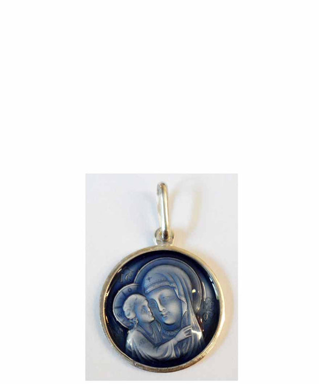 B037 Theotokos Pendant with Blue Enamel