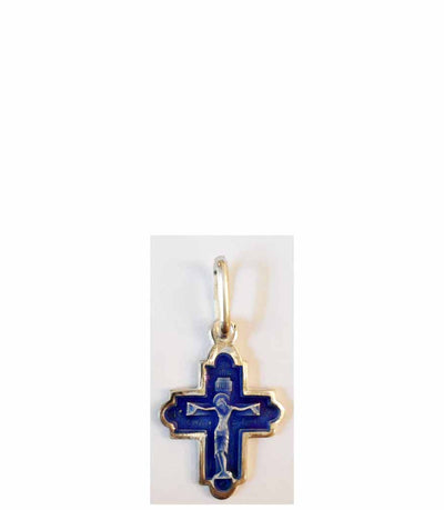 B043 Orthodox Cross with Blue Enamel
