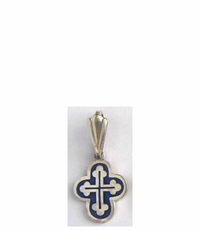 B045 Orthodox Cross with Blue Enamel