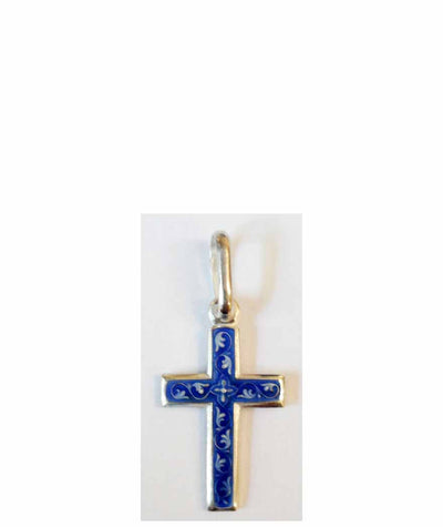 B047 Cross with Blue Enamel