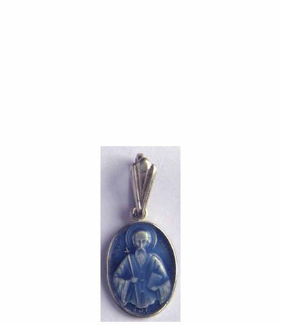 B054 St John of Rila Icon Pendant with Blue Enamel