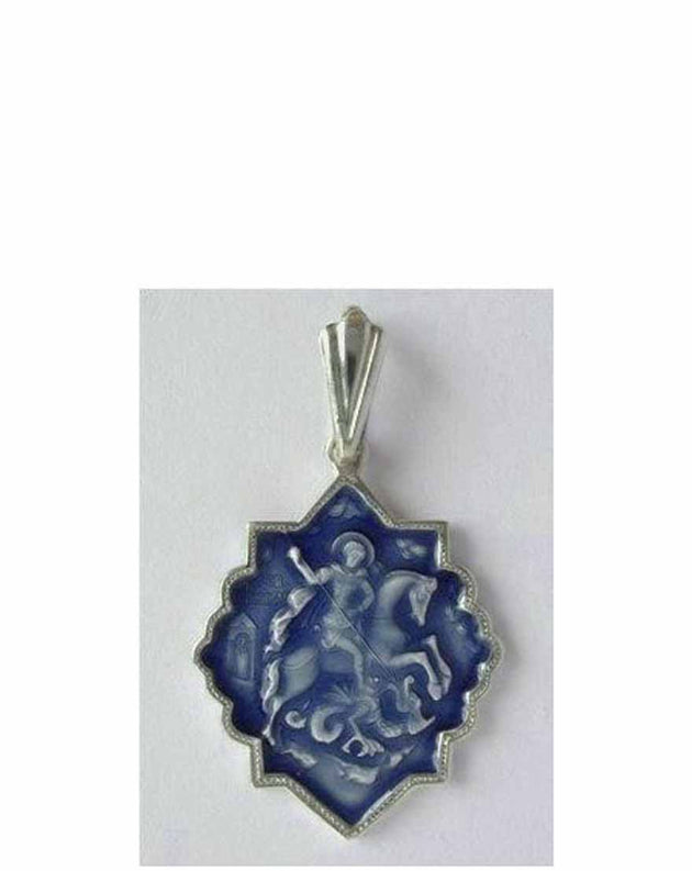 B00060 St George Slaying the Dragon Icon Pendant with Blue Enamel