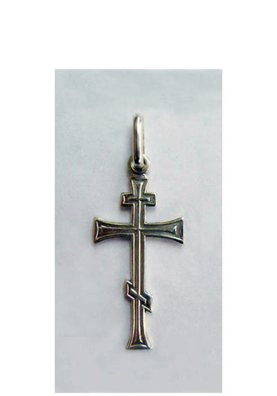 B00068 Three Bar Orthodox Cross Sterling Silver