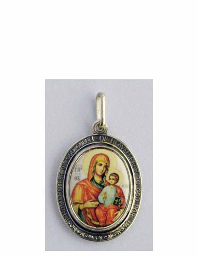 B503Queen Porcelain Theotokos Icon Pendant