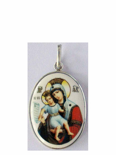 B509Lg Porcelain Meet It Is Theotokos Icon Pendant