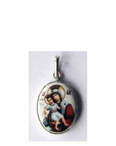 B509Sm Porcelain Meet It Is Theotokos Icon Pendant