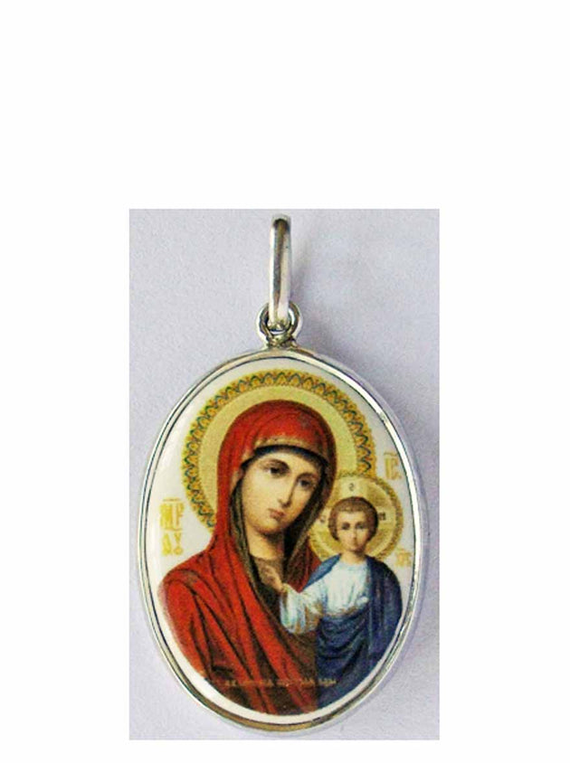 B511Lg Porcelain Kazan Mother of God Icon Pendant