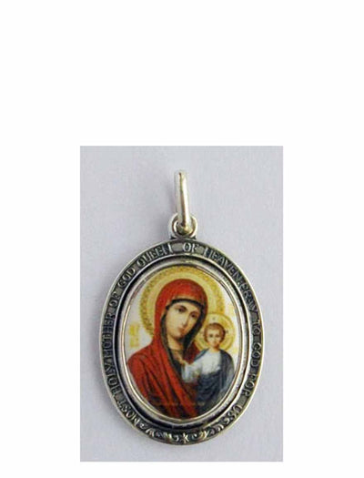 B511QueenH Porcelain Kazan Mother of God Icon Pendant