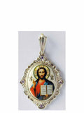 B513H Porcelain Christ Icon Pendant